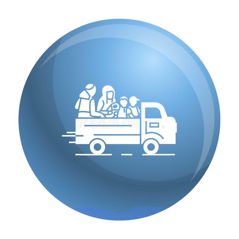Hemlös familjsymbol för lastbil, enkel stil vektor illustrationer