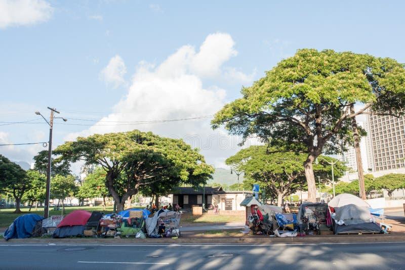 Hemlös i Hawaii royaltyfria foton