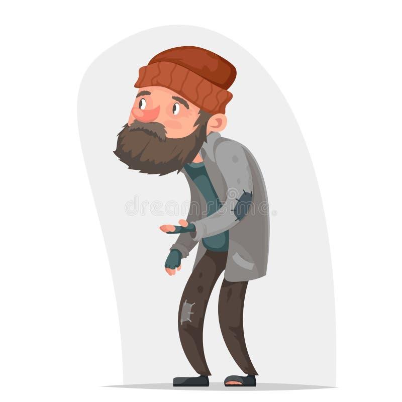 Hemlös illustration för vektor för design för tecknad film för symbol för Bum Poor Male Character Beg hjälppengar hand isolerad stock illustrationer