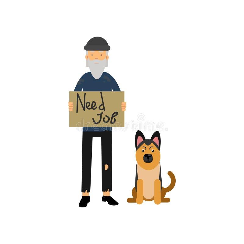Hemlös man med hans hund som behöver för illustration för jobbtecknad filmvektor stock illustrationer