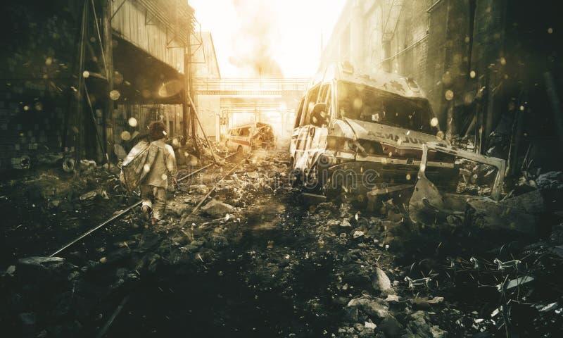 Hemlös pys som går i förstörd stad royaltyfri bild