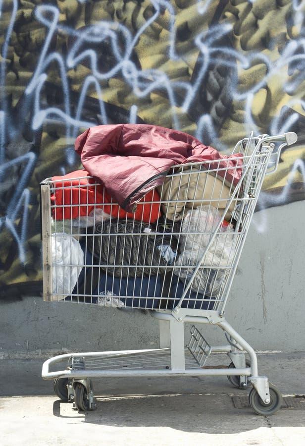 hemlös shopping för vagn arkivfoton