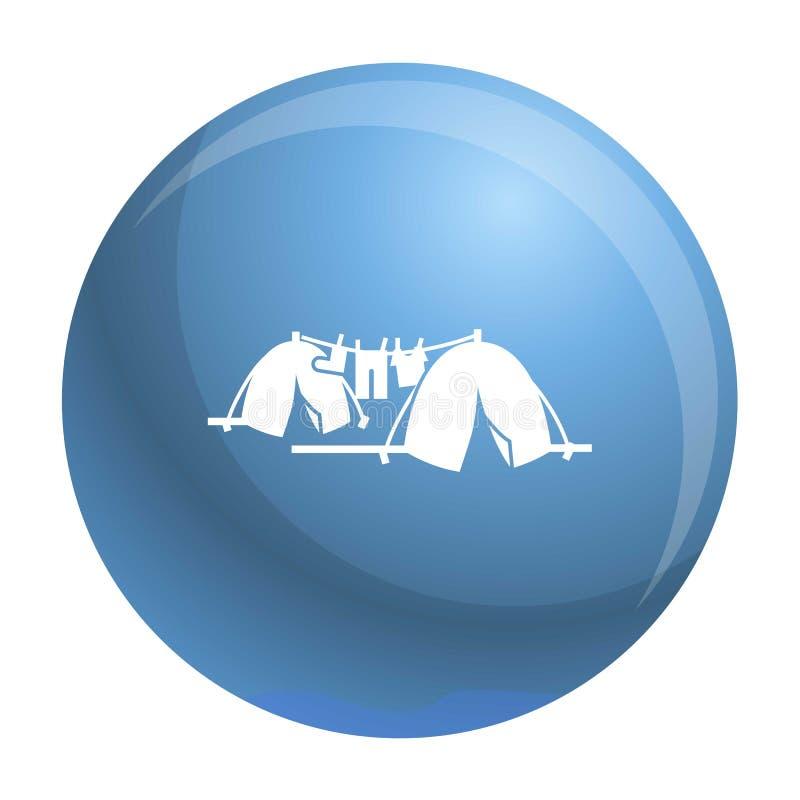 Hemlös tältlägersymbol, enkel stil stock illustrationer
