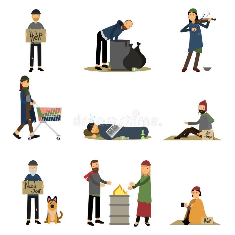 Hemlöst folk och luffare som tigger pengar som behöver hjälpuppsättningen av tecknad filmvektorillustrationer royaltyfri illustrationer