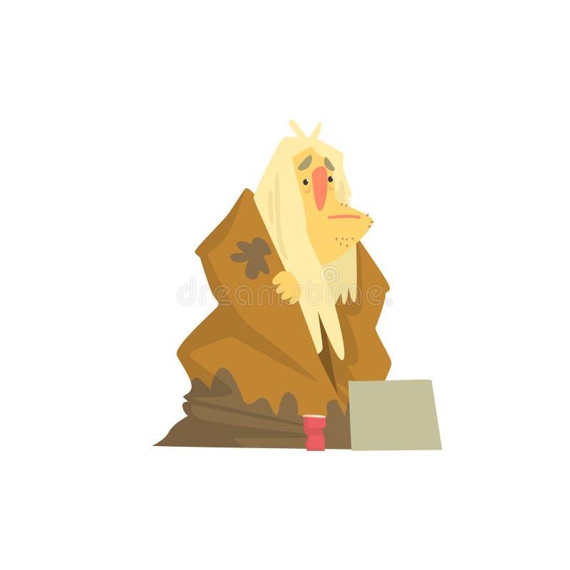 Hemlöst mantecken i smutsiga trasor som sitter på gatan, manlig tiggare för arbetslöshet som behöver hjälpvektorillustrationen royaltyfri illustrationer