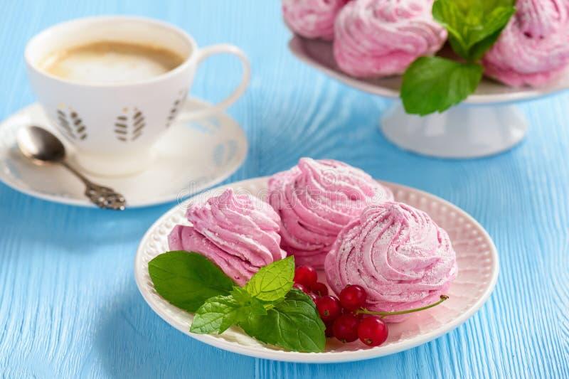 Hemlagad bärsefir eller marshmallow, på blå träbakgrund royaltyfri foto