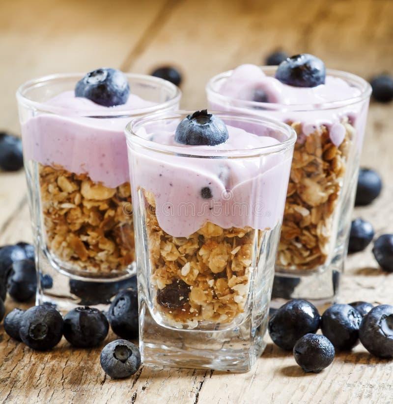 Hemlagad bakad granola med yoghurt och blåbär i ett exponeringsglas royaltyfria foton
