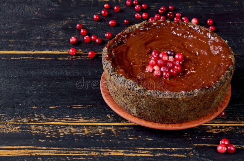 Hemlagad chokladkaka för beröm som dekoreras med tranbäret på den mörka träbakgrunden Vinterefterrätt för jul fotografering för bildbyråer