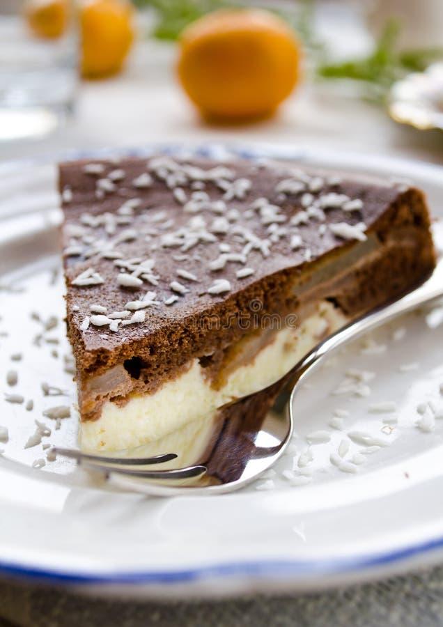 Hemlagad chokladpaj med gräddost royaltyfri bild