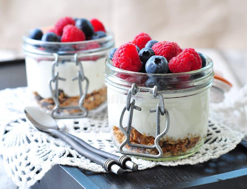 Hemlagad granola med ny yougurt, blåbär, hallon, russin och organisk agavenektar sund frukost arkivbilder