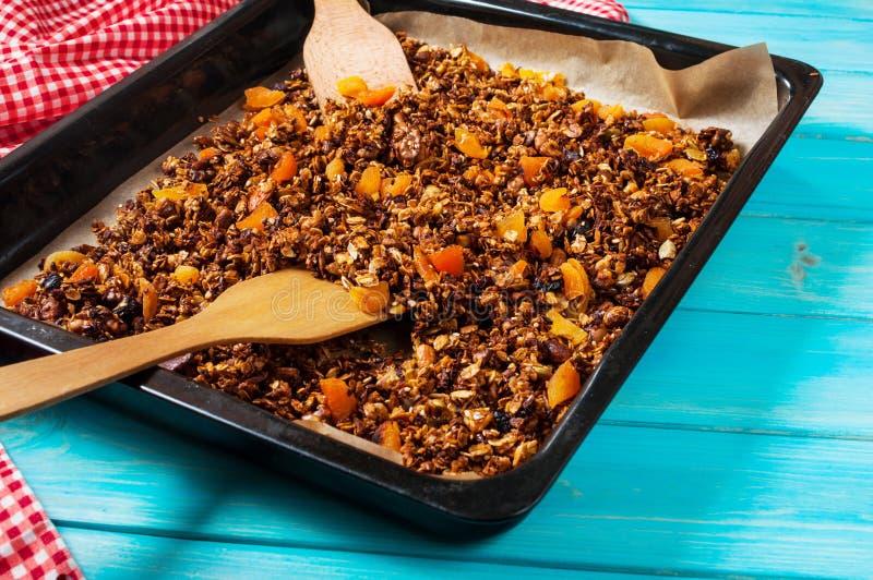 Hemlagad granola med russin, valnötter, mandlar och hasselnötter sund frukost royaltyfri bild