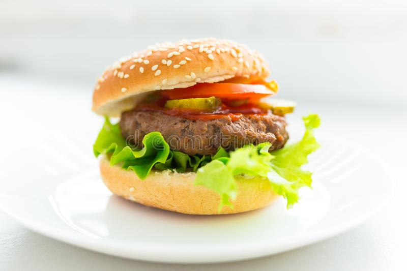 Hemlagad hamburgare på plattan royaltyfri bild