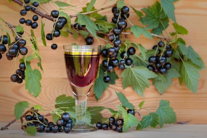 Hemlagad likör som göras från svarta vinbär och nya bär arkivfoto