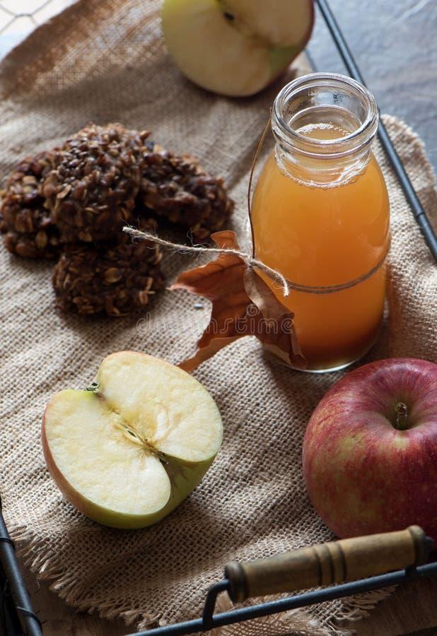 Hemlagad ny äppelcider i en krus fotografering för bildbyråer