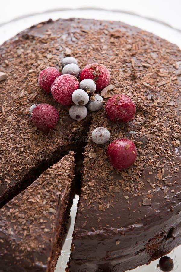Hemlagad ny chokladf?delsedagkaka med organiska fryste b?r och chiper p? ?verkanten Stycke av kaka och beröm royaltyfri fotografi