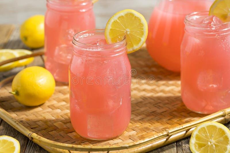 Hemlagad ny rosa lemonad royaltyfria bilder