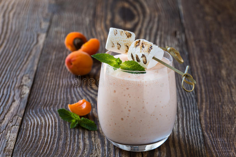 Hemlagad ny sommar bär frukt milkshake med den rostade marshmallowen arkivbild