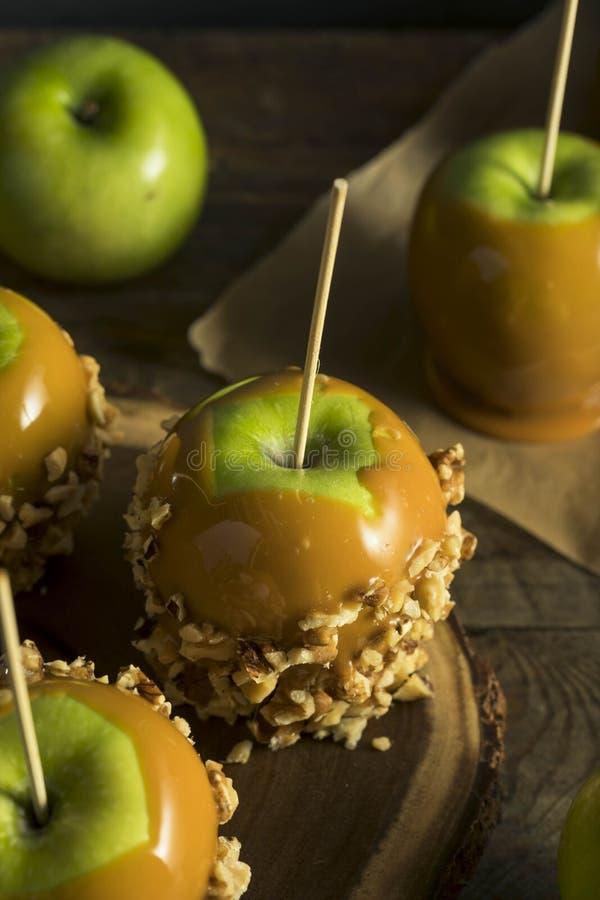 Hemlagad organisk godis Taffy Apples arkivfoto