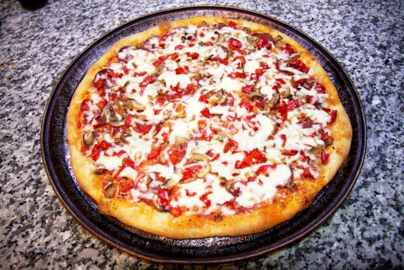 Hemlagad pizza royaltyfria foton