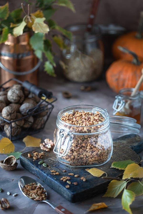 Hemlagad pumpamysli med muttrar och frö i en exponeringsglaskrus för en sund frukosthöststilleben royaltyfri bild