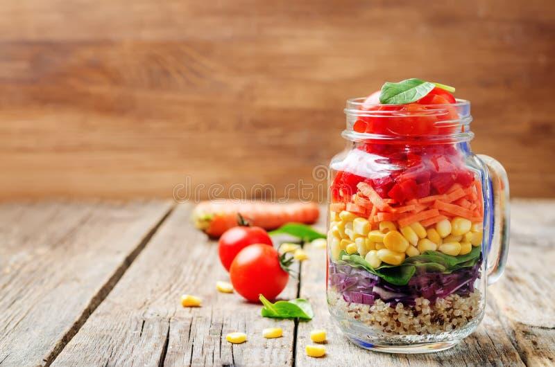 Hemlagad regnbågesallad med grönsaker och quinoaen royaltyfri fotografi