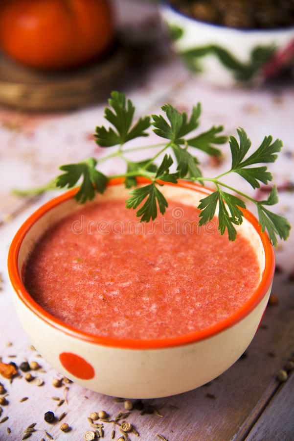 Hemlagad spansk gazpacho arkivbilder