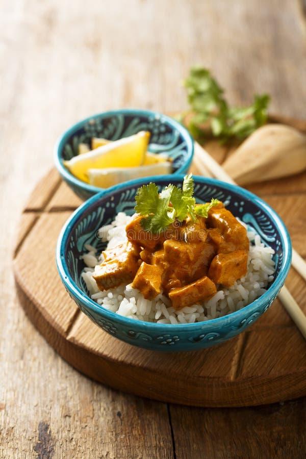 Hemlagad traditionell feg curry med ris med nya örter arkivfoto