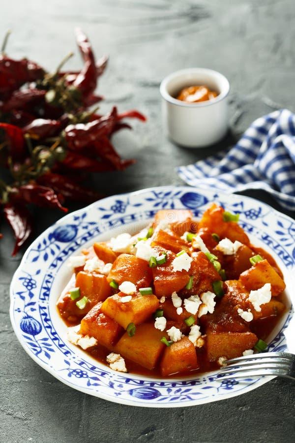 Hemlagad vegetarisk potatisgulasch med ny ost royaltyfri bild