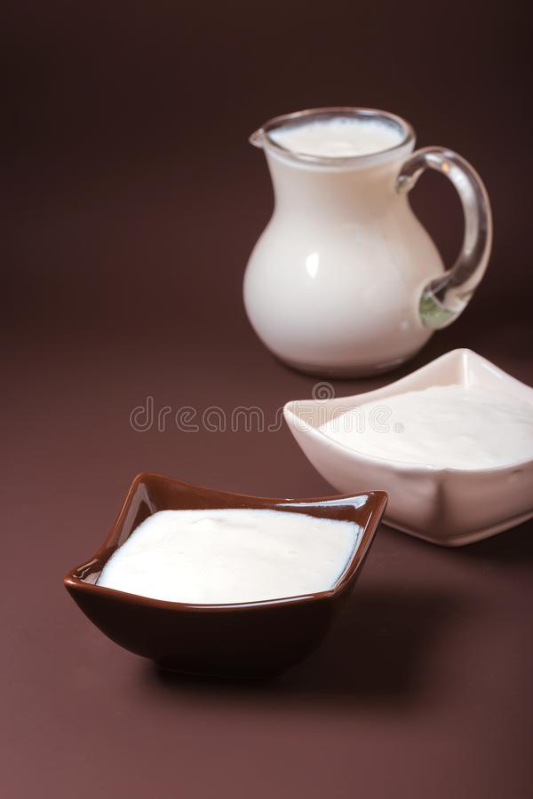 Hemlagad yoghurt i keramiska fyrkantiga bunkar, ett tillbringarebrätte mycket av yoghurten bak bunkarna Sund mat från yoghurtbe royaltyfri foto