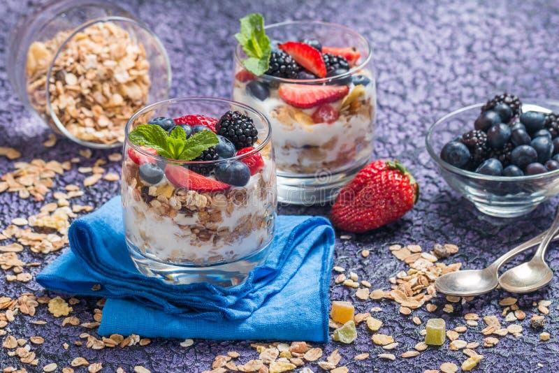 Hemlagad yoghurt med bakad granola fotografering för bildbyråer