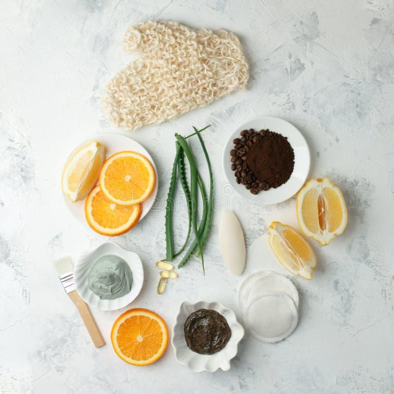 Hemlagade ansikts- maskeringar med naturliga ingredienser f?r skincare - citron, kaffeb?na, honung, aloe vera, apelsiner royaltyfri foto