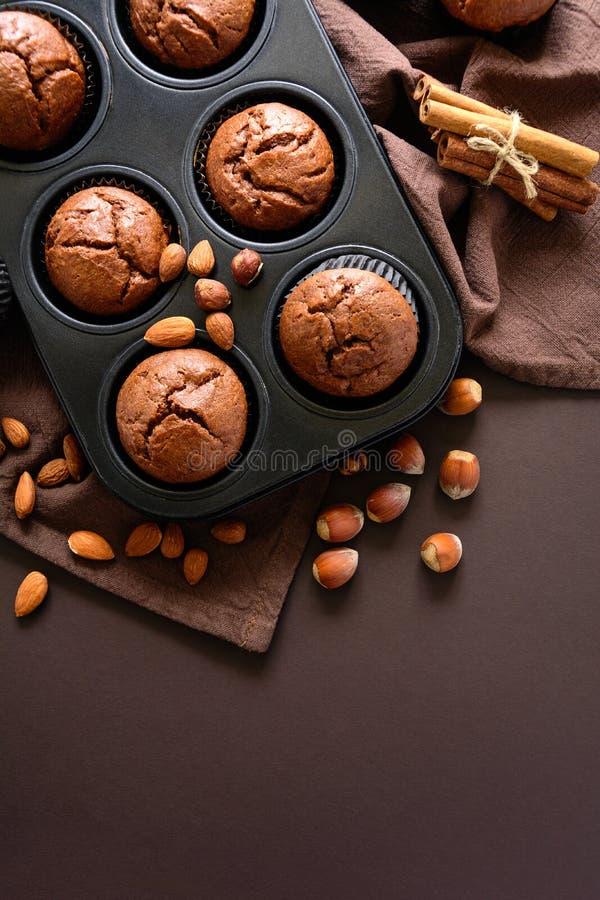 Hemlagade chokladmuffinnissen med kanel, mandlar och hasselnötter royaltyfria foton