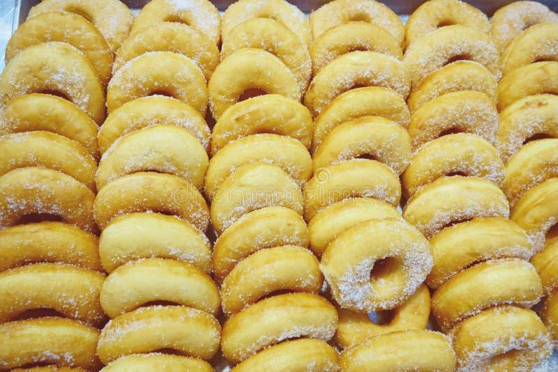 Hemlagade donuts med pudrat socker royaltyfria bilder