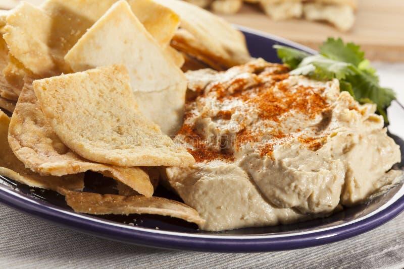 Hemlagade frasiga Pita Chips med Hummus arkivbilder