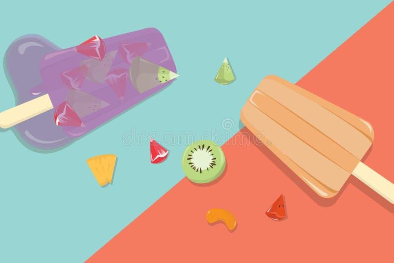 Hemlagade fruktisglassar med tappningbakgrund royaltyfri illustrationer