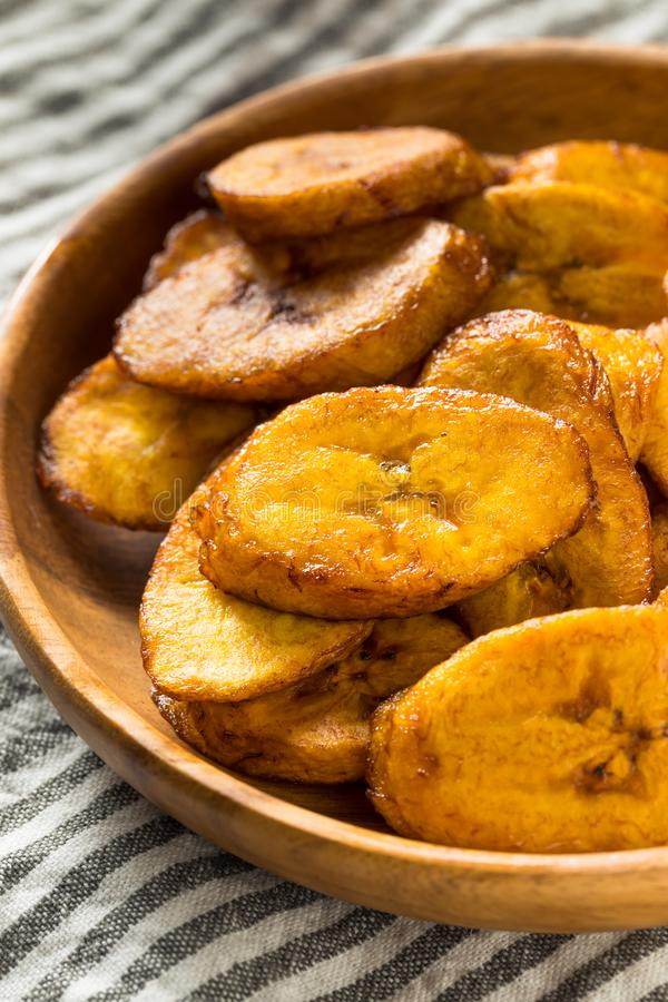 Hemlagade gula Fried Plantains arkivfoton