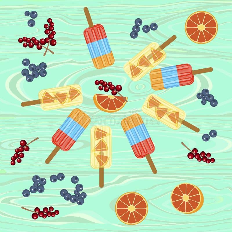 Hemlagade isglassar med bär vektor illustrationer
