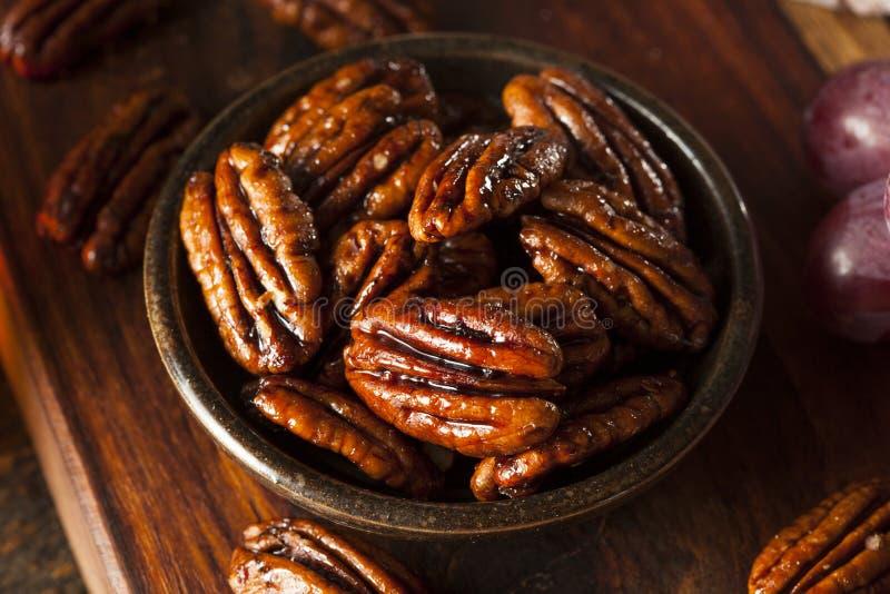Hemlagade kanderade pecannötter med kanel royaltyfri fotografi