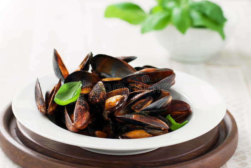 Hemlagade lagade mat musslor med vitlök, tomatsås, italienska örter, vitt vin och ny basilika i en platta arkivfoton