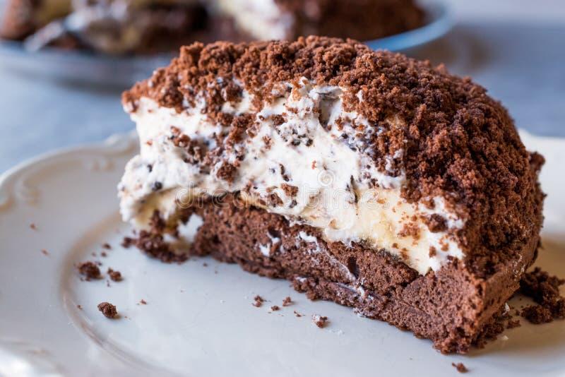 Hemlagade Mink Mole Hole Cake med den chokladkexet, bananen och gräddost fotografering för bildbyråer