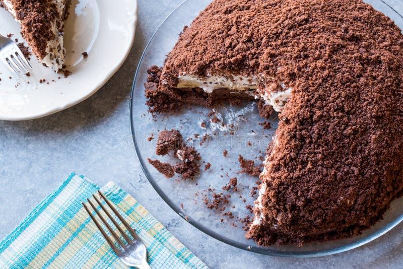 Hemlagade Mink Mole Hole Cake med den chokladkexet, bananen och gräddost royaltyfria foton