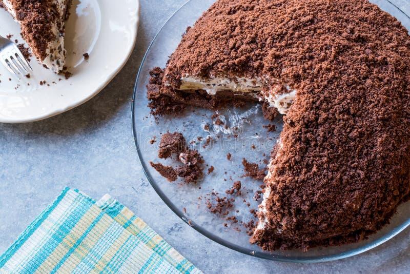 Hemlagade Mink Mole Hole Cake med den chokladkexet, bananen och gräddost royaltyfria bilder