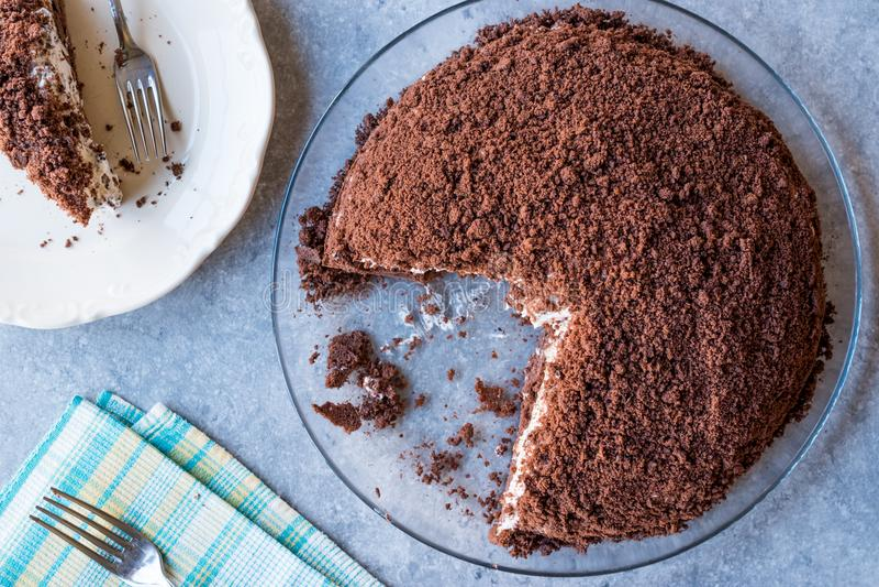 Hemlagade Mink Mole Hole Cake med den chokladkexet, bananen och gräddost arkivfoton