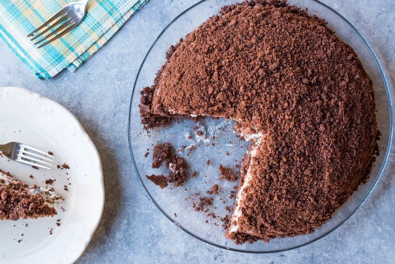 Hemlagade Mink Mole Hole Cake med den chokladkexet, bananen och gräddost arkivbilder