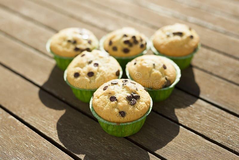 Hemlagade muffin med naturprodukter royaltyfri foto