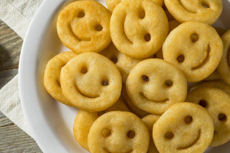 Hemlagade Smiley Face French Fries arkivbilder
