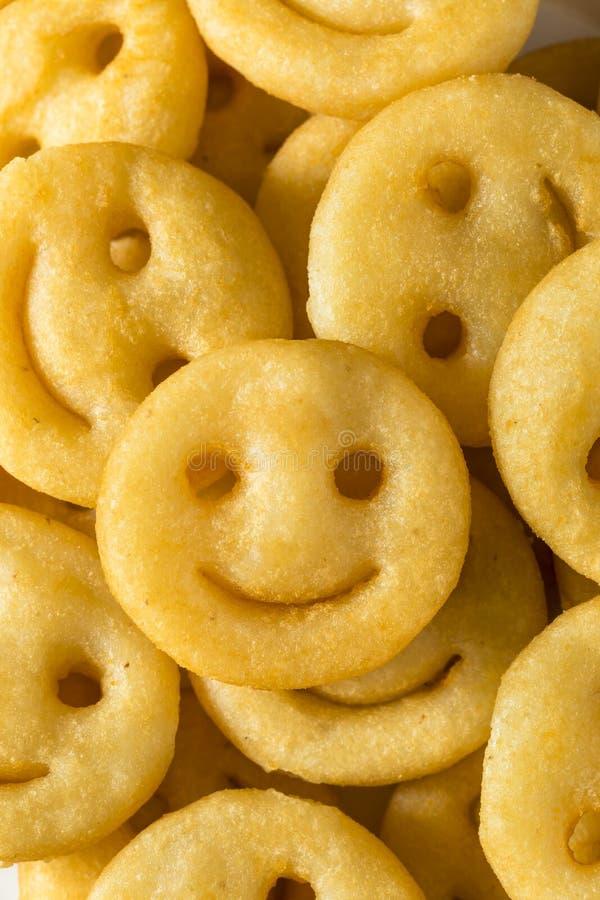 Hemlagade Smiley Face French Fries royaltyfria bilder