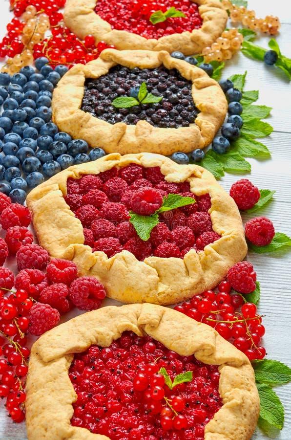 Hemlagade tarts med nya blåbär, hallon, röda vinbär på den gråa bakgrunden Vegetarisk sund bärgalette royaltyfria bilder