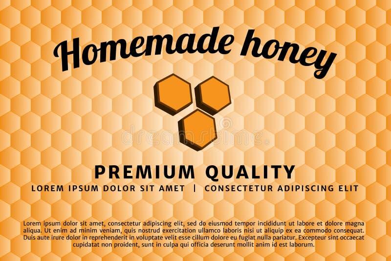 Hemlagat honungemblem och etikett Duva som symbol av förälskelse, pease vektor illustrationer