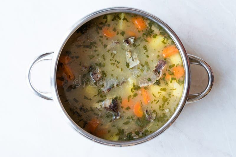 Hemlagat kött Stew Beef Rip Soup med grönsaker i panna royaltyfria bilder